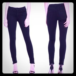 MOTHER High Waisted Looker Skinny Jeans: Black